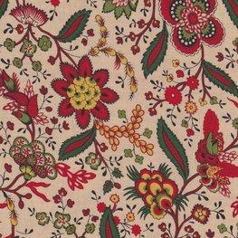 Marcus Fabrics Old Sturbridge Christmas ecru bloem