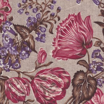 Windham Fabrics Edith bruin met grote bloem