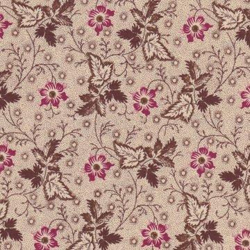 Windham Fabrics Edith ecru met bruin takje en rood bloemetje