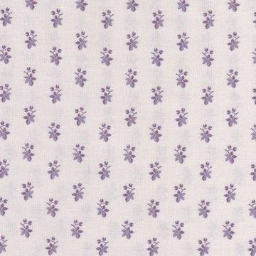 Windham Fabrics Chambray Rose ecru met klein paars bloemetje