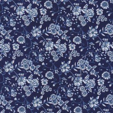 Blank quilting blauw met wit bloemetje
