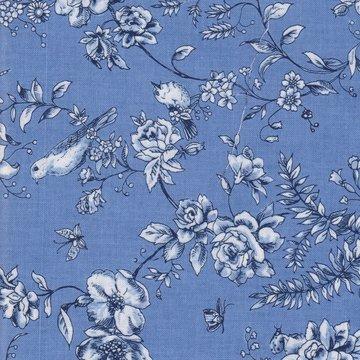 Blank quilting blauw met roosje en vogeltje