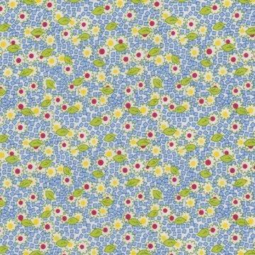 Wilmington Prints Pinafores & Petticoats blauw geel bloem