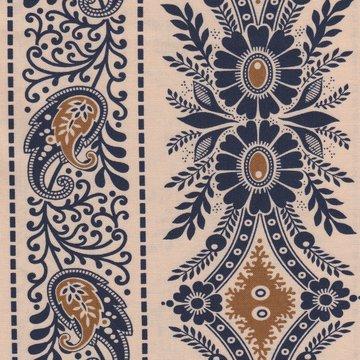 Marcus Fabrics Border Companions ecru/blauw rand