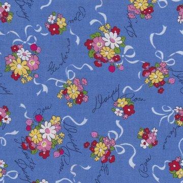 Lecien Old New Fabric blauw met boeketjes