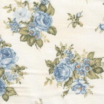 Robert Kaufman Le Jardin Parisien ecru blauwe rozen
