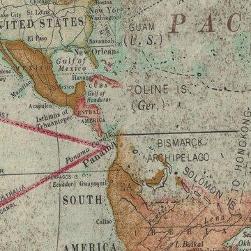 Coats & Clark Fabric Eclectic Elements wereldkaart