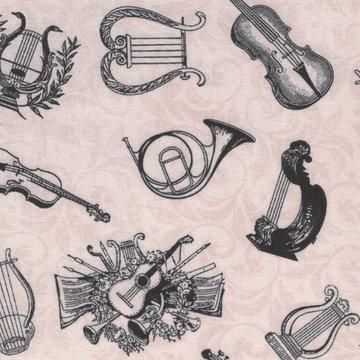 Wilmington Prints Angel Song ecru muziek instrumenten