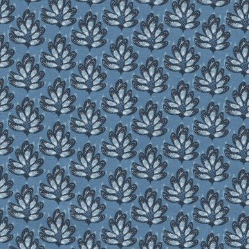 Eyelike Fabrics Hindelopia blauw met blauw blad