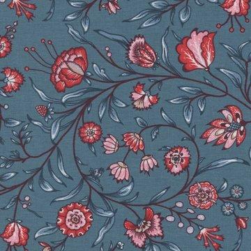 Eyelike Fabrics Hindelopia blauw met roze tak