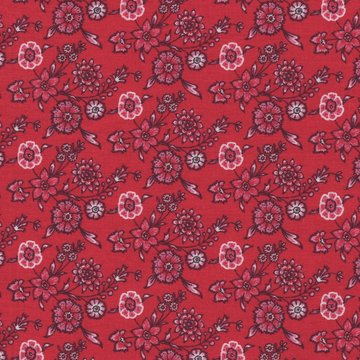 Eyelike Fabrics Hindelopia rood met roze bloemetjes