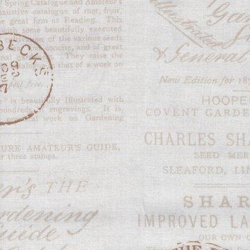Windham Fabrics Bookshelf Botanicals ecru schrift