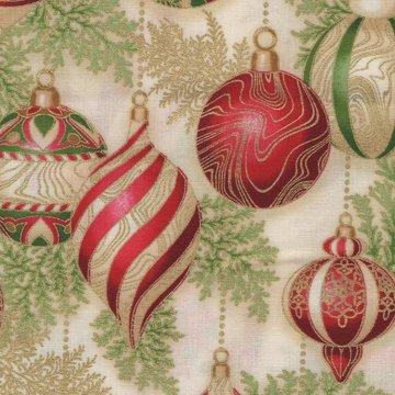 Robert Kaufman Holiday Flourish 11 ecru met kerstballen