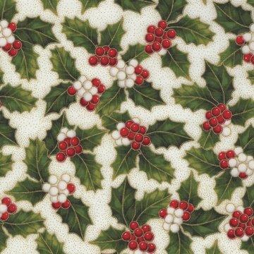 Hoffman California kerst ecru hulstblad