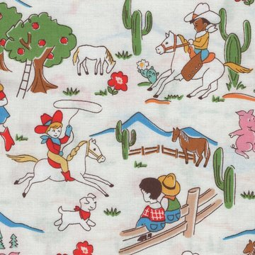 Windham Fabrics Storybook Ranch wit cowboys en indianen