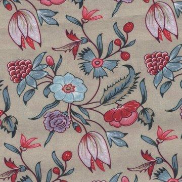 Eyelike Fabrics Hindelopia II taupe bloem
