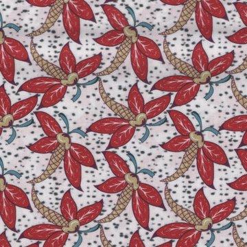 Eyelike Fabrics Hindelopia II wit met rood blad