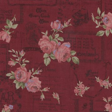 Lecien Antique Rose rood roze roos letters