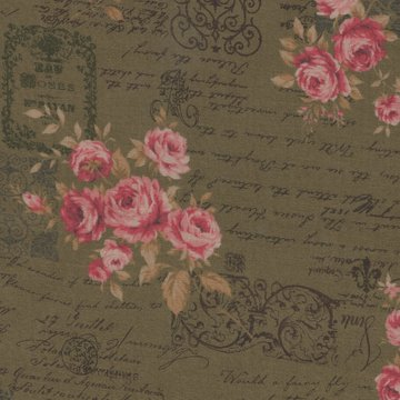 Lecien Antique Rose groen roze roos letters