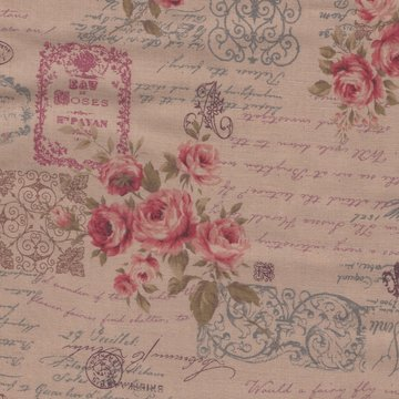 Lecien Antique Rose tan roze roos letters