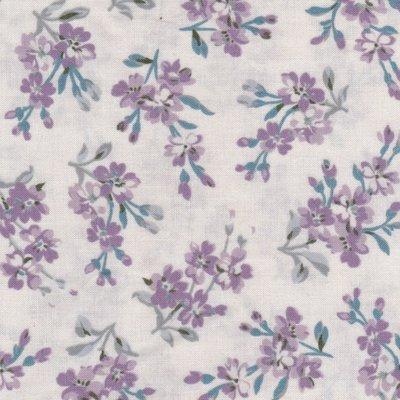 Windham Fabrics Chambray Rose ecru met paarse bloem