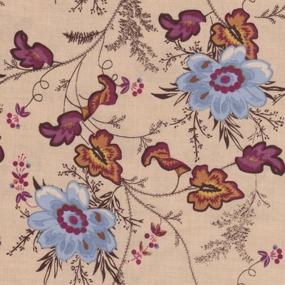 Penny Rose Fabrics The Era Of Jane creme blauwe bloem