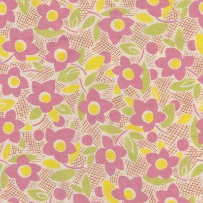 Lecien Retro 30's ecru met roze bloem