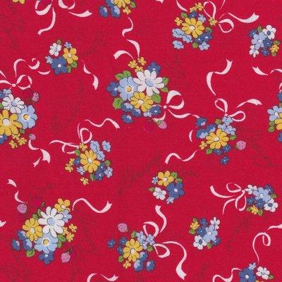 Lecien Old New Fabric rood met boeketjes
