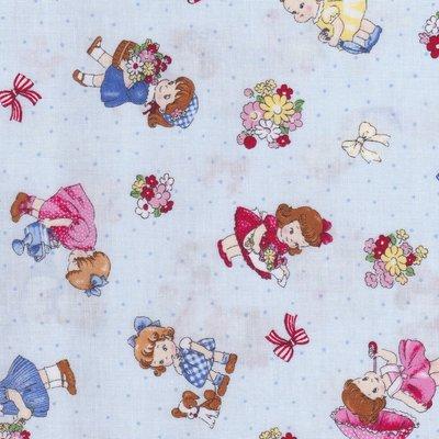 Lecien Old New Fabric blauw met kindjes