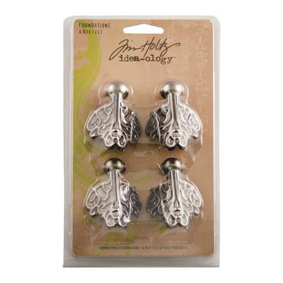 Tim Holtz box feet (pootjes) antique nickel 4 stuks