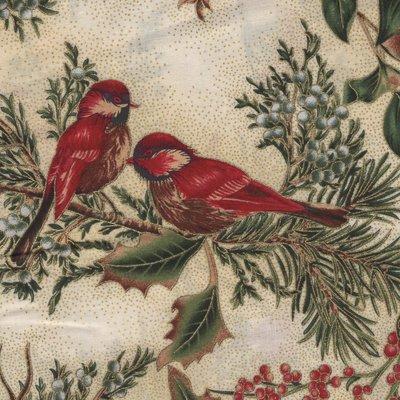 Hoffman California Winter Magic ecru vogels