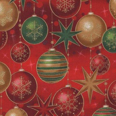 Robert Kaufman Winter's Grandeur 6 rood kerstbal