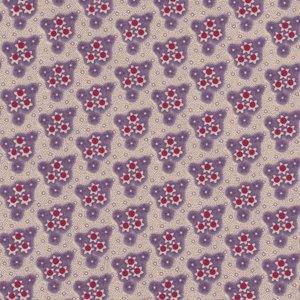 Windham Fabrics Edith ecru met paars/rode bloemetjes