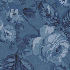 Benartex Michele's Rose blauw met grote roos