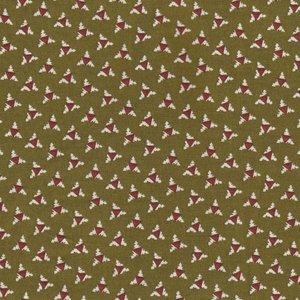 Windham Fabrics Sampler groen met ecru/rood werkje