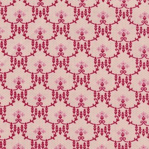 Penny Rose Fabrics Beaujolais roze met rood trellis