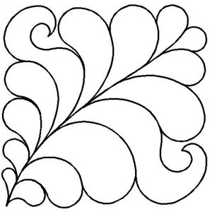 Quilt Stencil Feather Block 5""