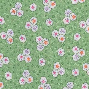 Marcus Fabrics Aunt Grace groen wit werkje