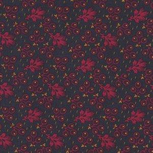 Penny Rose Fabrics Evandale donkergrijs met rood besje