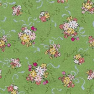 Lecien Old New Fabric groen met boeketjes