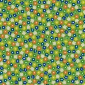 Stof a/s basic style groen met oranje en blauwe bloemetjes.