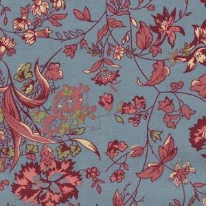 Penny Rose Fabrics Callington Mill blauw grote bloem