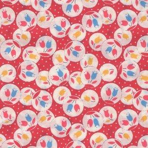 Lecien Retro 30's Child Smile rood met tulpjes