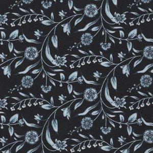 Eyelike Fabrics Hindelopia zwart met blauwe bloemtak