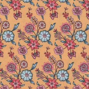 Eyelike Fabrics Hindelopia geel met bloemen
