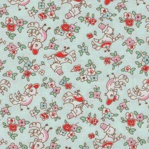Penny Rose Fabrics Little Dolly mintgroen met kippetjes