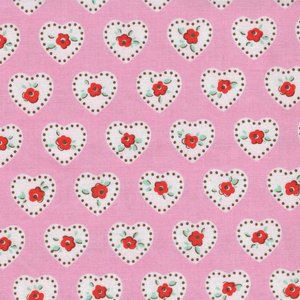 Penny Rose Fabrics Little Dolly roze wit hartje
