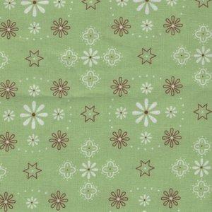 Riley Blake: groen met ecru/bruin werkje dubbelbreed