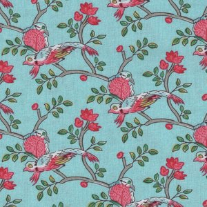 Windham Fabrics Susannah blauw vogels
