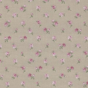 Stof a/s Vintage Roses taupe roze roosje klein